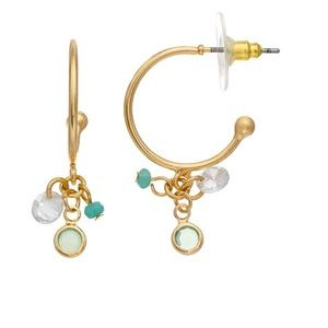 LC Lauren Conrad Hoop Green Channel Drop Earrings